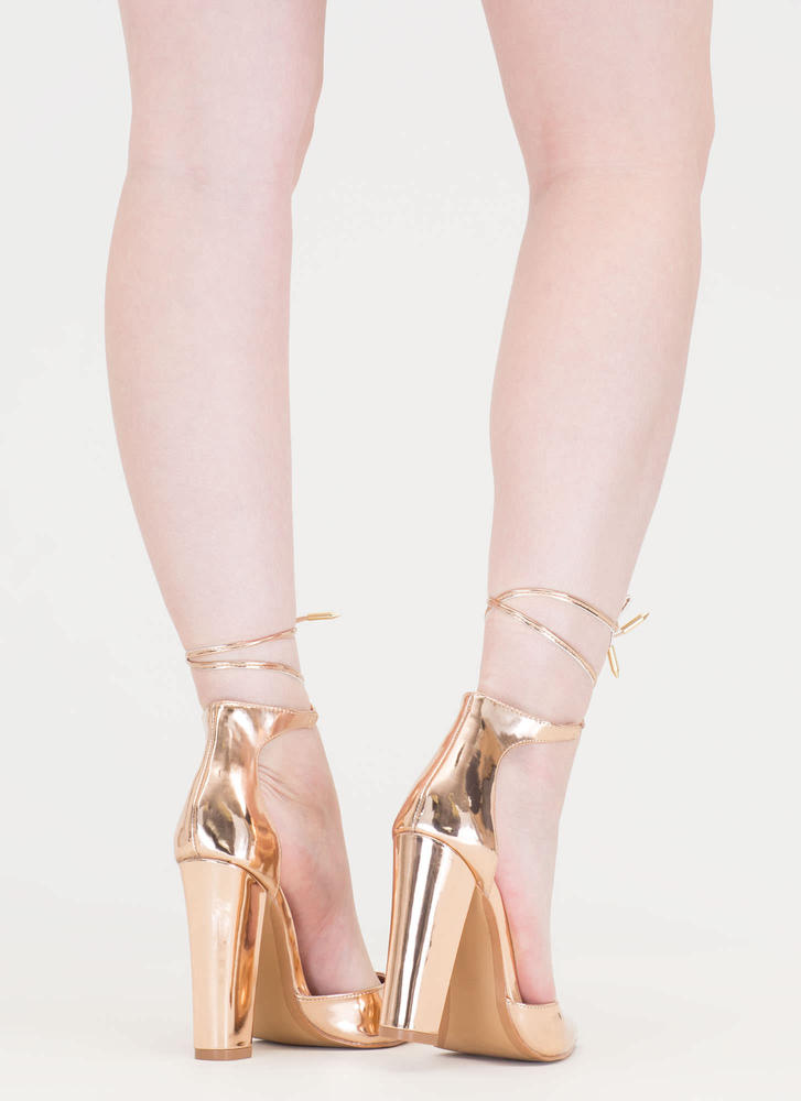 Just Pointy Out Chunky Lace-Up Heels ROSEGOLD