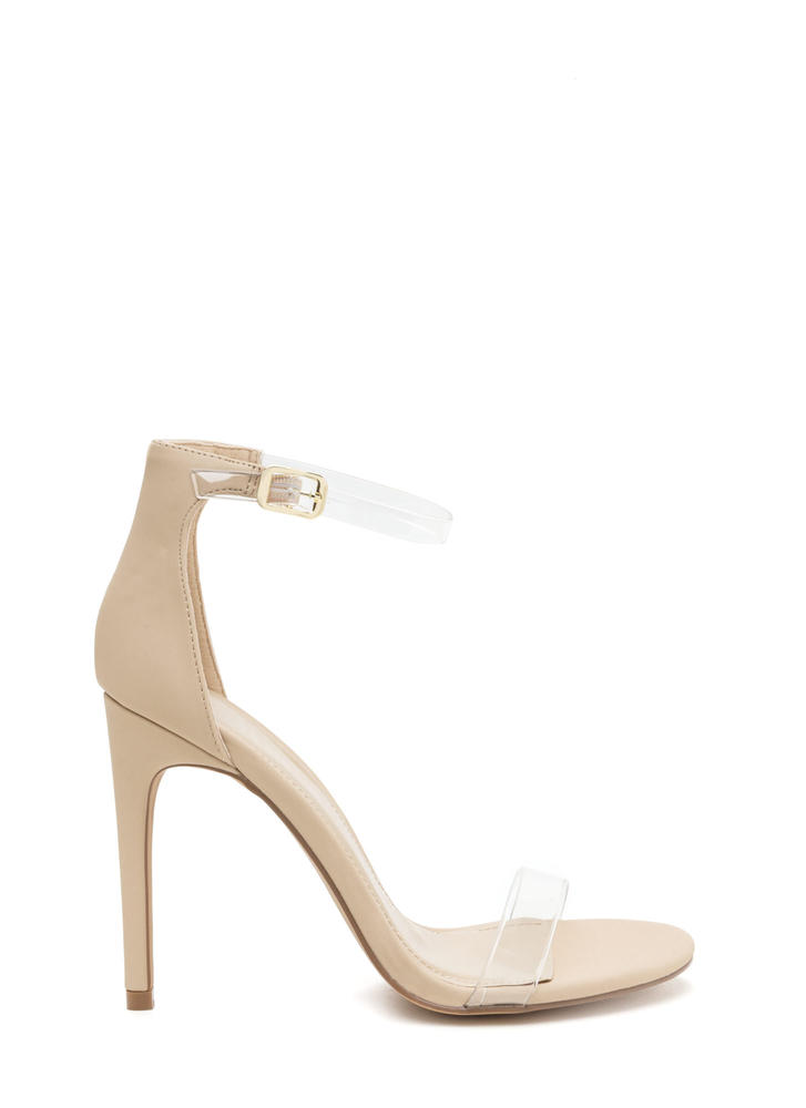 Clear History Strappy Faux Nubuck Heels NUDE
