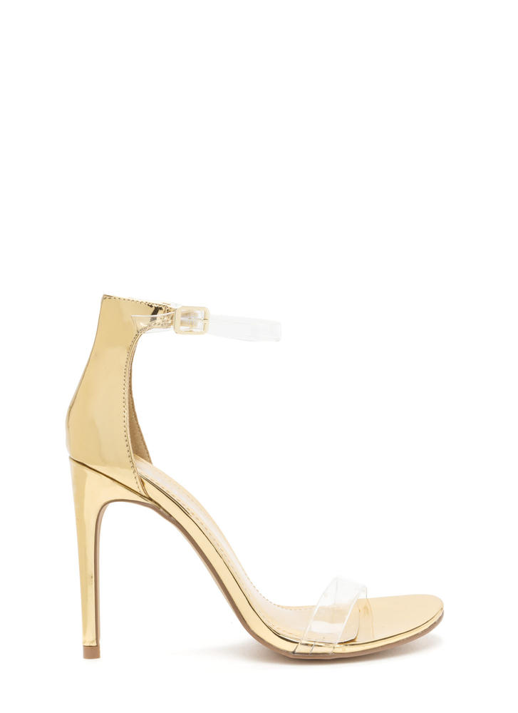 Clear History Metallic Faux Patent Heels GOLD