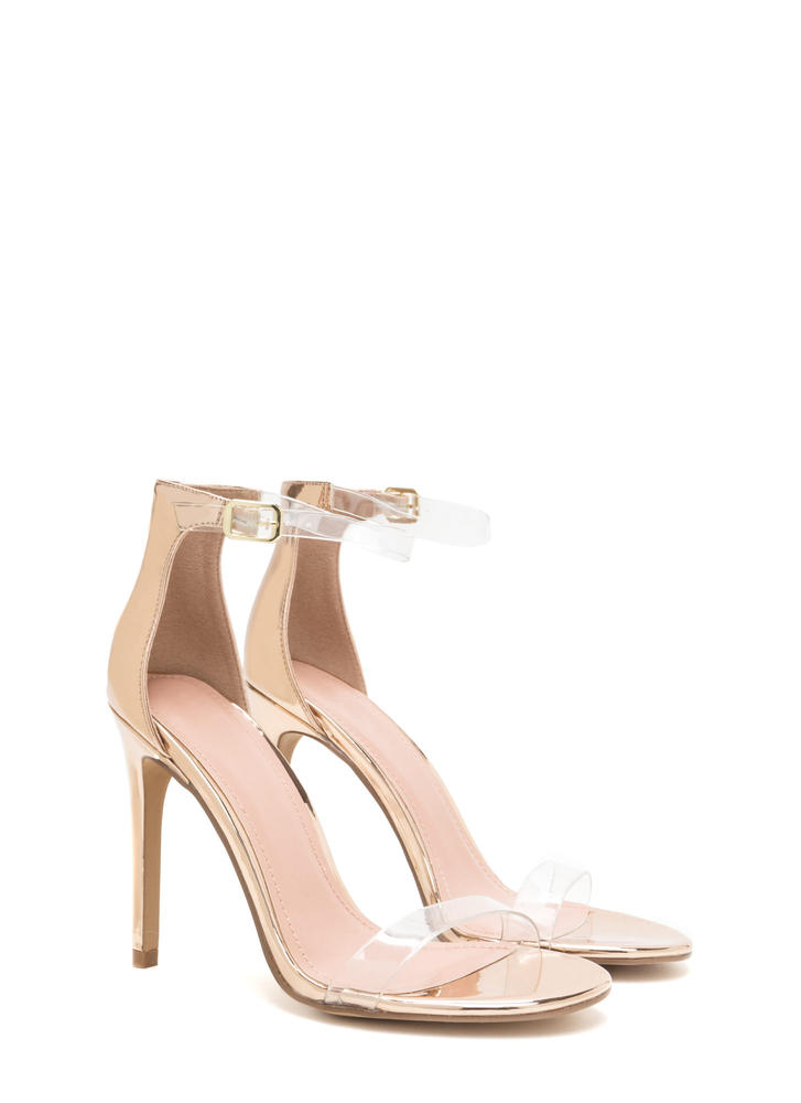 Clear History Metallic Faux Patent Heels ROSEGOLD
