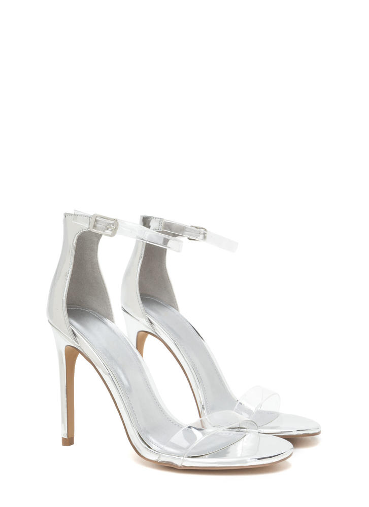 Clear History Metallic Faux Patent Heels SILVER