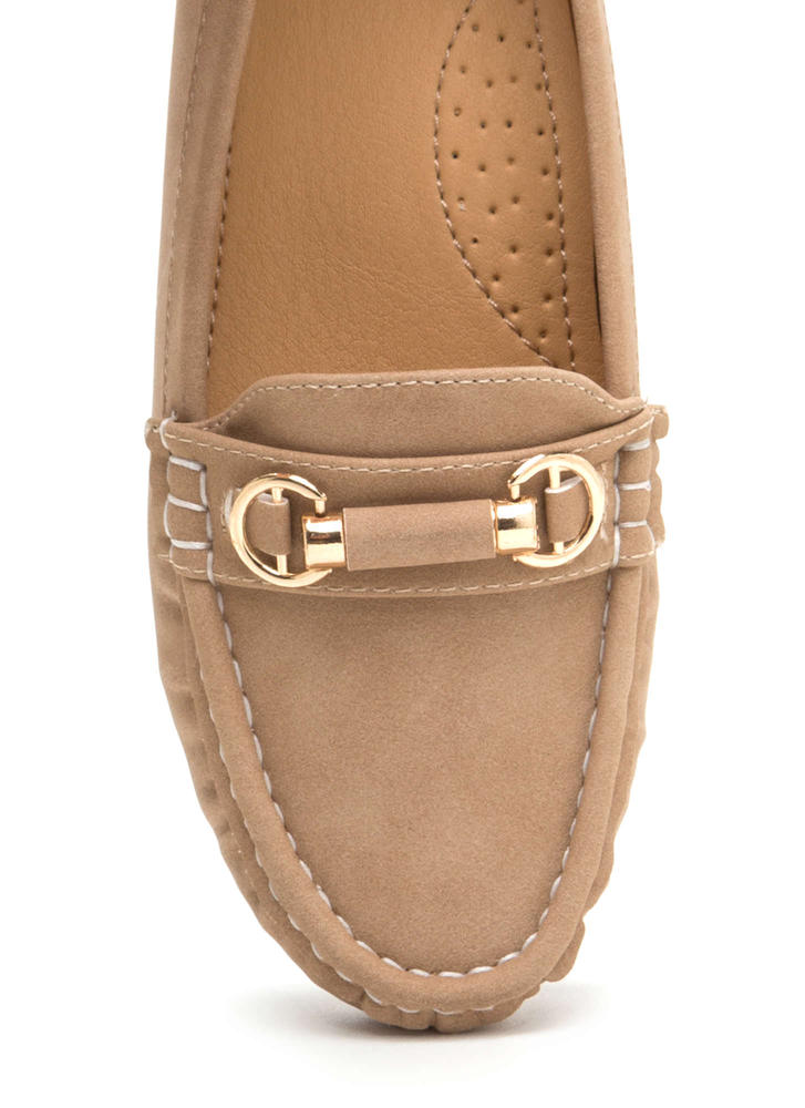 Yes Smoking Faux Suede Loafers TAUPE