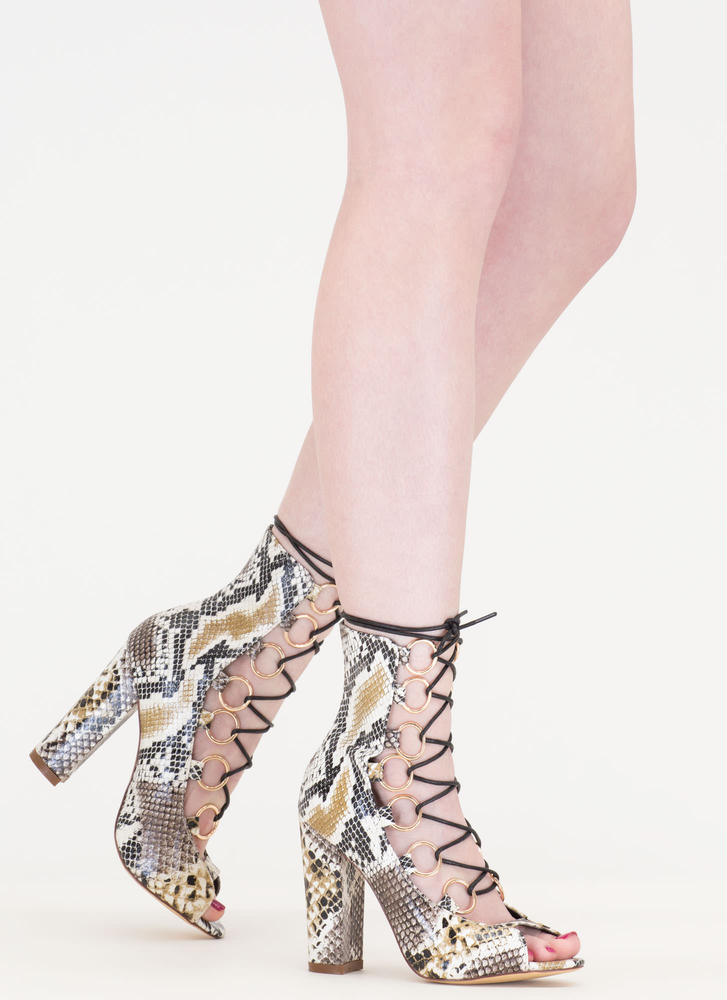 Ring Leader Lace-Up Snake Scale Heels