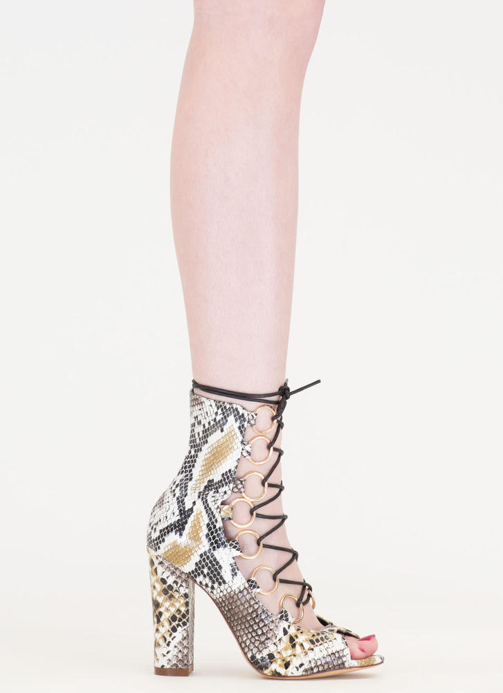 Ring Leader Lace-Up Snake Scale Heels SNAKE