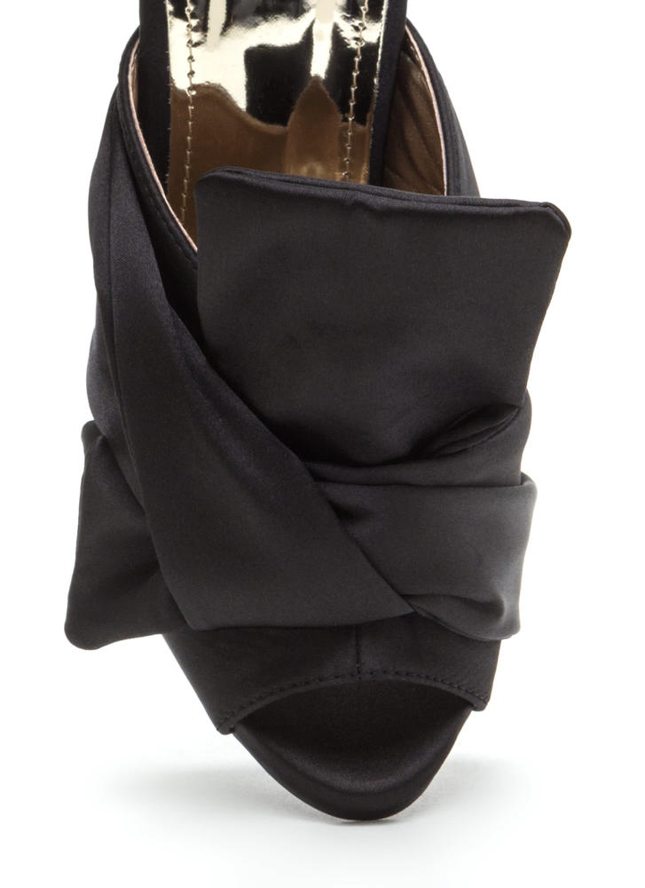 Satin With A Twist Knotted Mule Heels BLACK