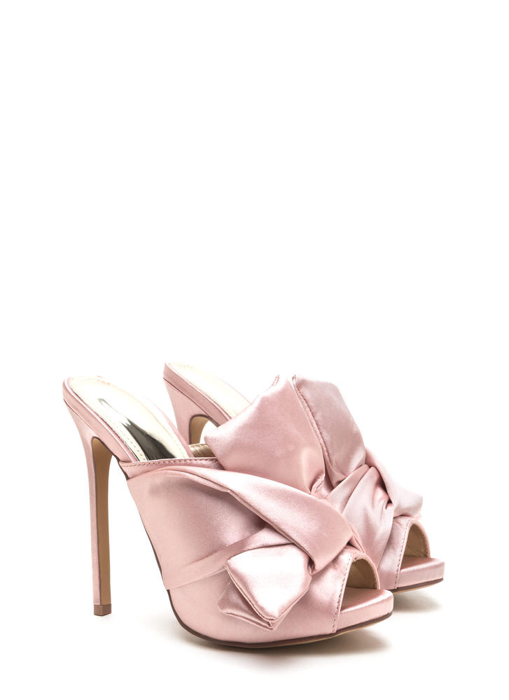 Satin With A Twist Knotted Mule Heels DUSTYPINK