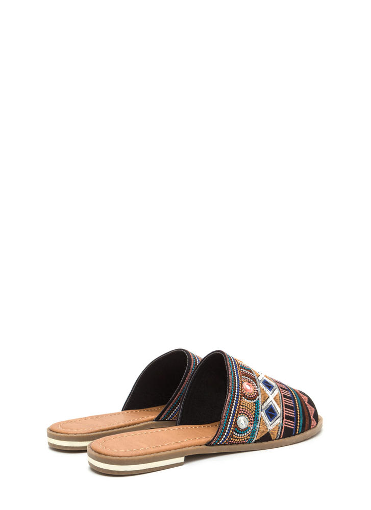 In Shapes Embroidered Slip-On Sandals BLACK