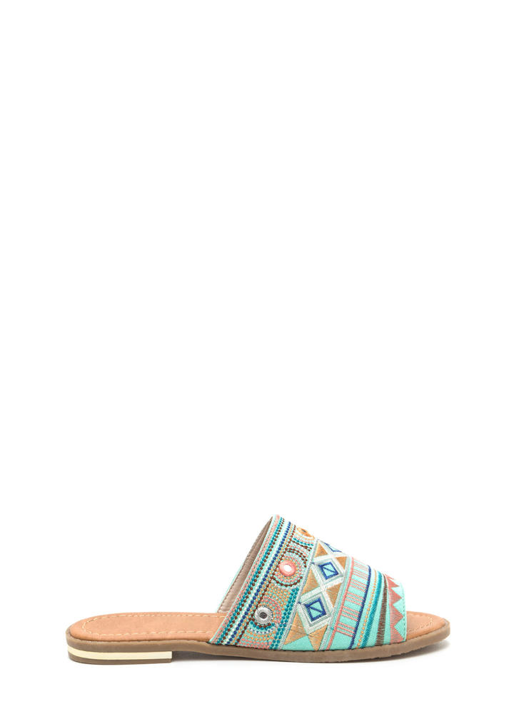 In Shapes Embroidered Slip-On Sandals