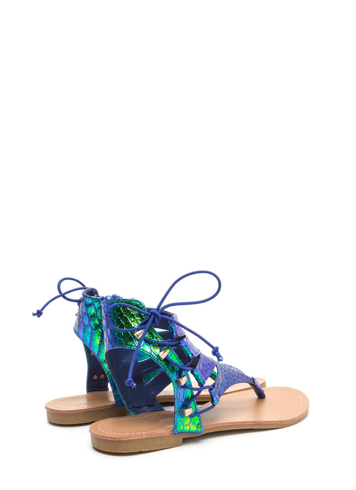 On The Side Scaled Lace-Up Sandals GREEN