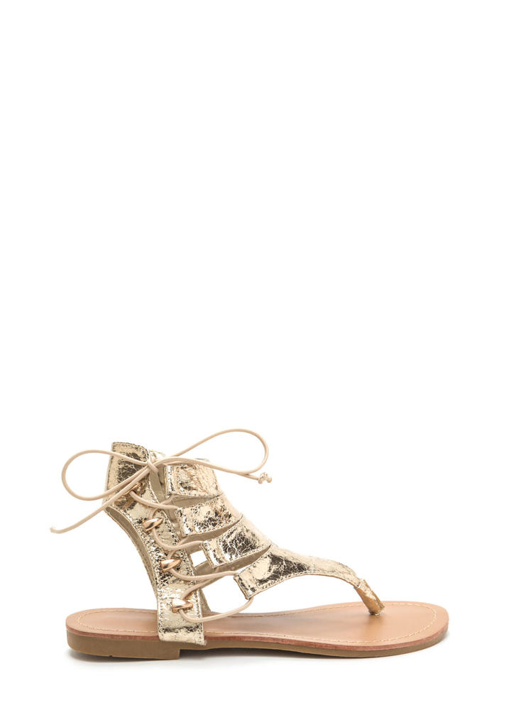 On The Side Metallic Lace-Up Sandals GOLD