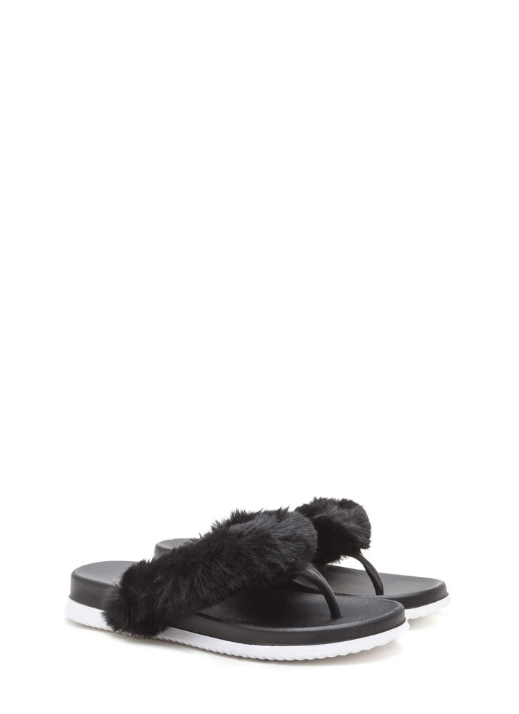 Once And Fur All Jelly Thong Sandals BLACK