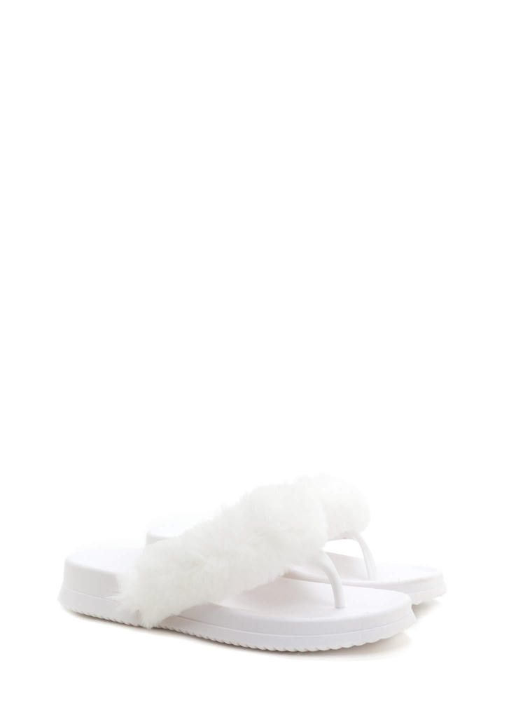 Once And Fur All Jelly Thong Sandals WHITE