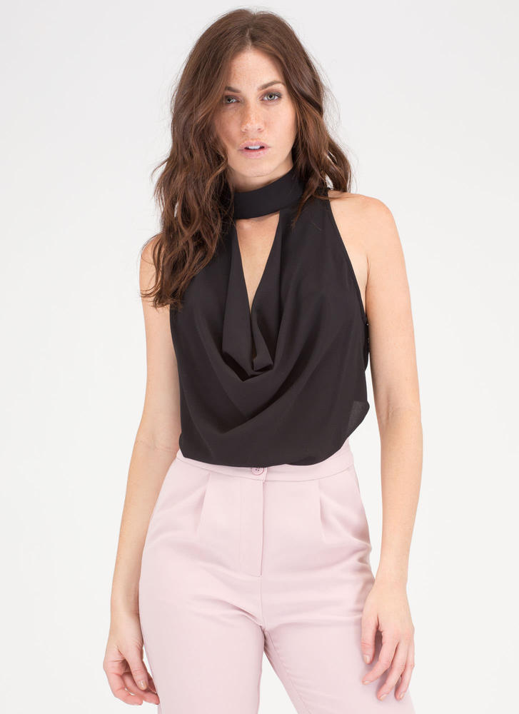 The Scoop Draped Cut-Out Cowl Top