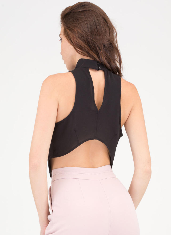 The Scoop Draped Cut-Out Cowl Top BLACK