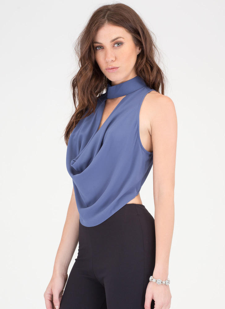 The Scoop Draped Cut-Out Cowl Top BLUE