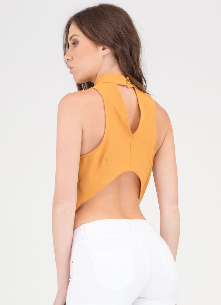 The Scoop Draped Cut-Out Cowl Top MUSTARD