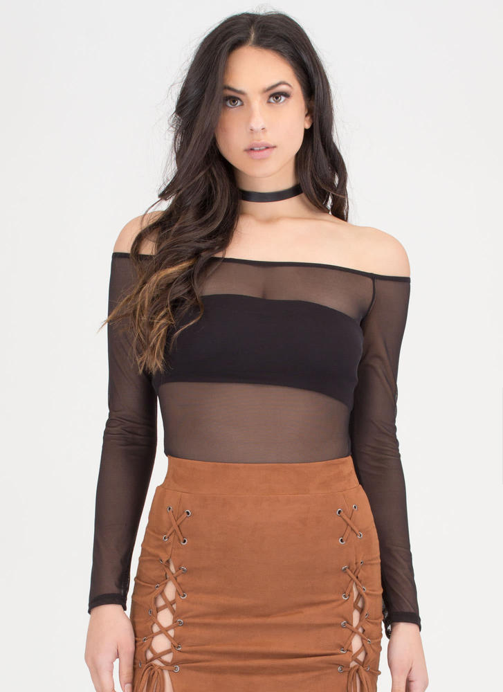 Sheer Thing Off-Shoulder Mesh Bodysuit BLACK