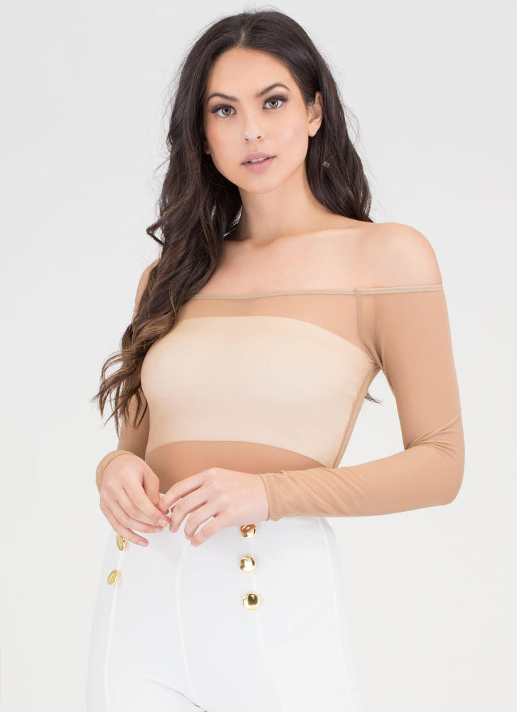 Sheer Thing Off-Shoulder Mesh Bodysuit MOCHA
