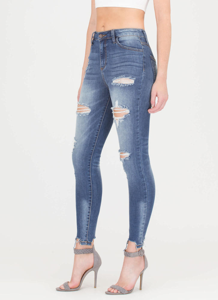 Take A Bite Destroyed Skinny Jeans BLUE