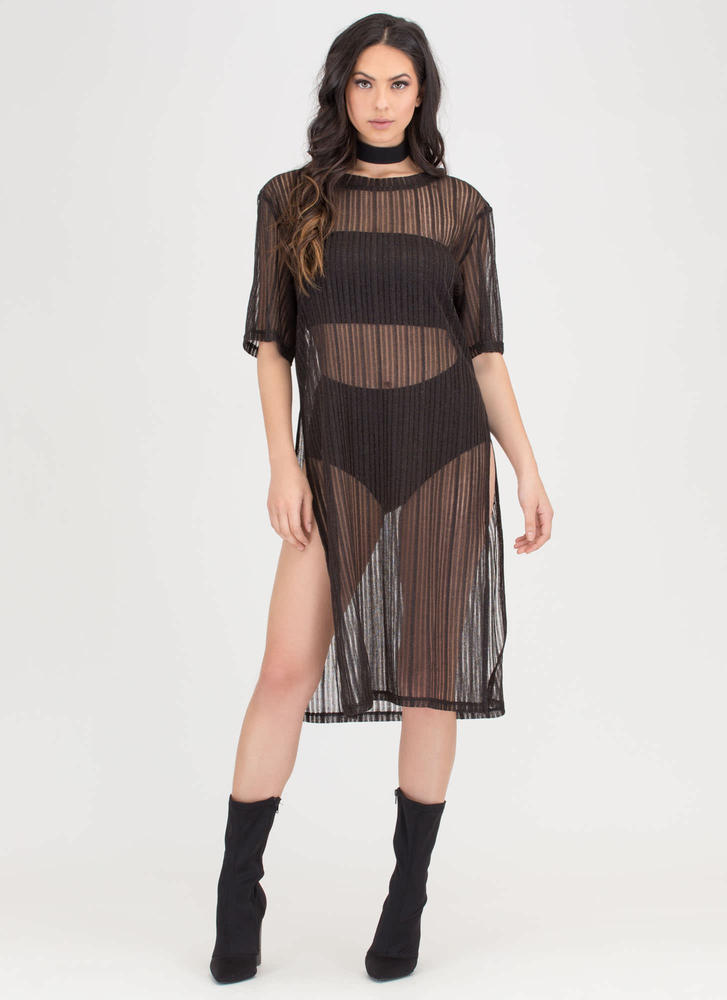 Sheer You Go Striped Double Slit Dress BLACK
