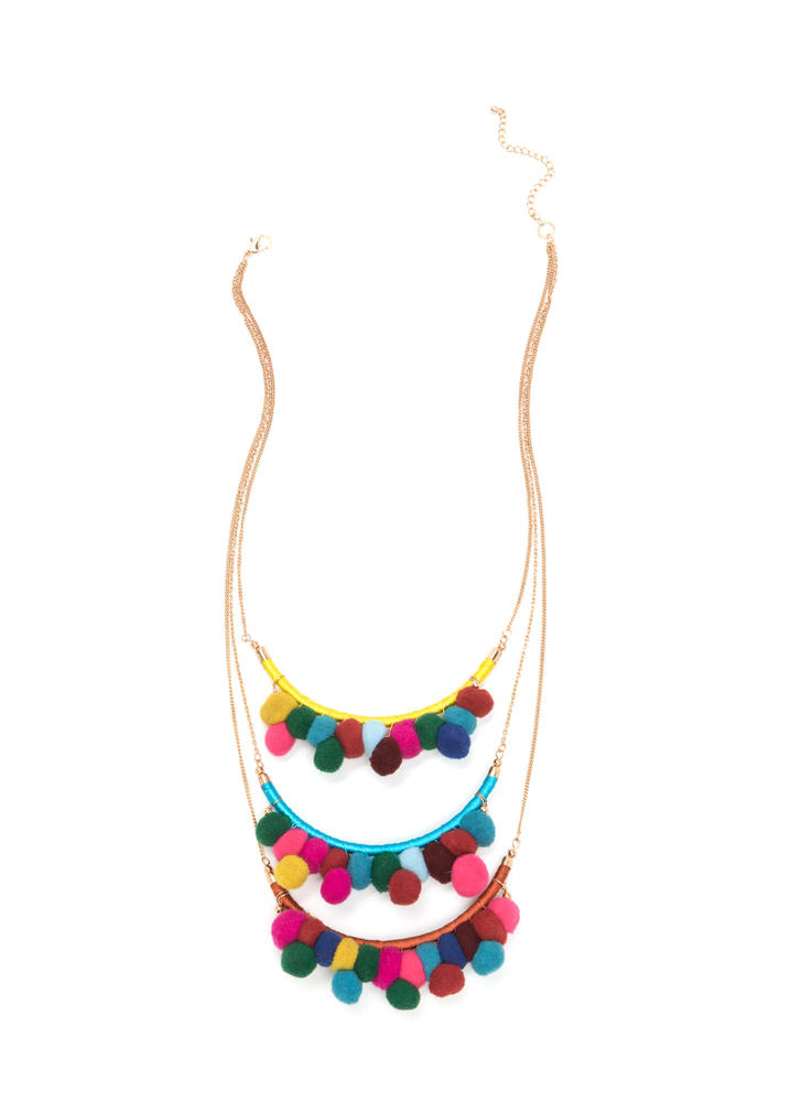 Party Over Here Tiered Pom-Pom Necklace MULTI