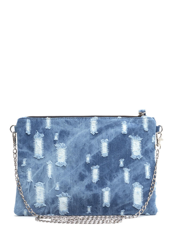 Butterfly Effect Distressed Denim Clutch BLUE