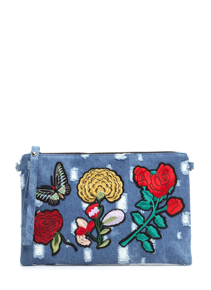 Patch Together Distressed Denim Clutch