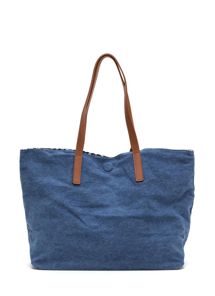 Decision Maker Woven Embroidered Tote DENIM