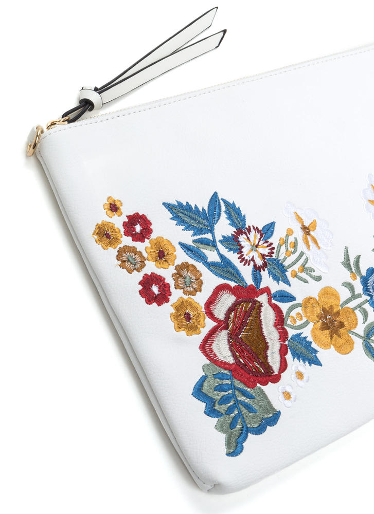 Flower Up Embroidered Rectangle Clutch WHITE