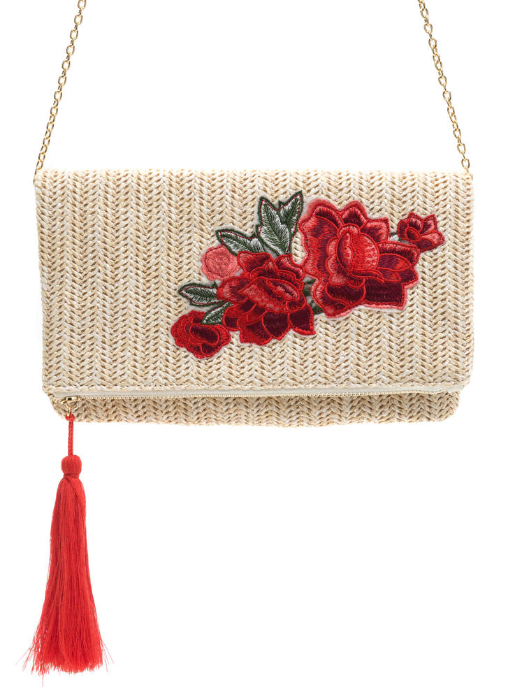 Rose A Question Woven Tasseled Clutch