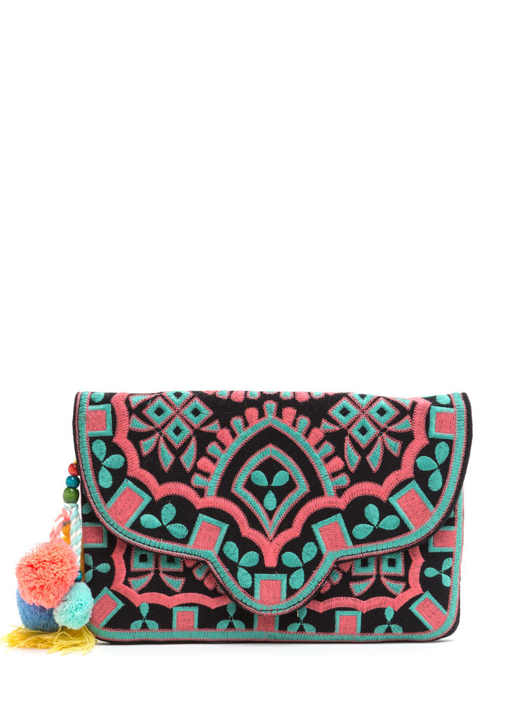 Versatile Choice Embroidered Boho Clutch