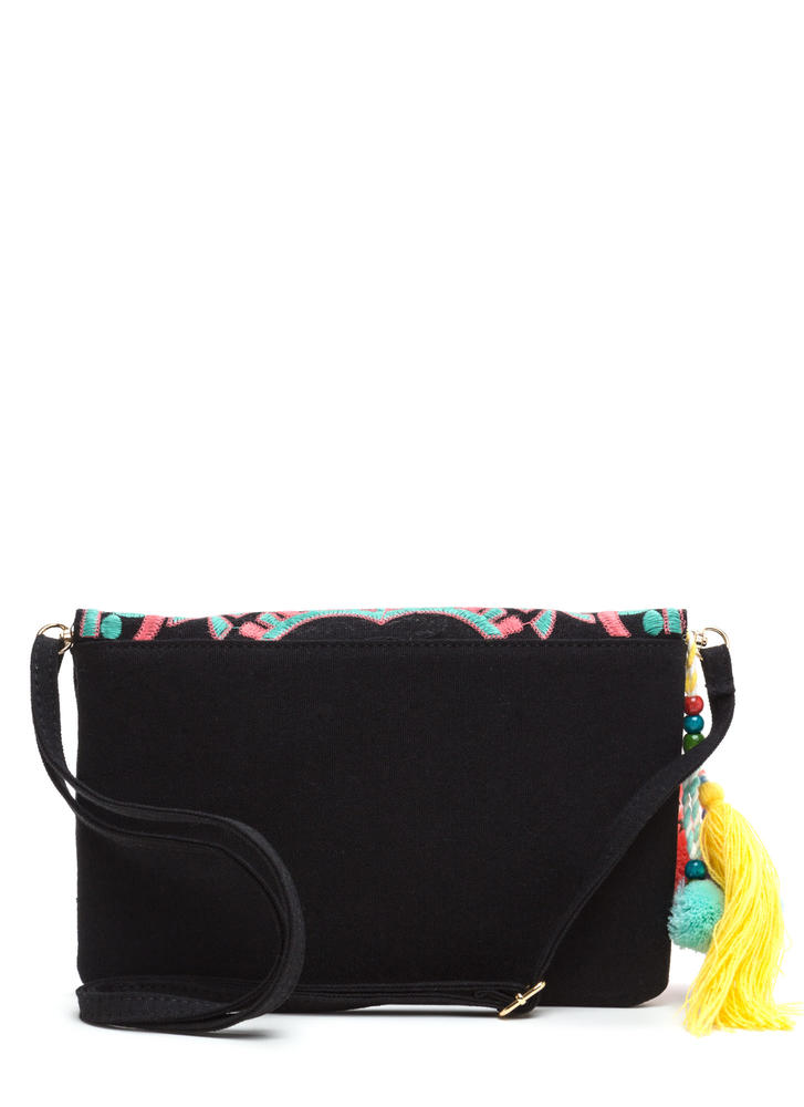Versatile Choice Embroidered Boho Clutch BLACKMULTI