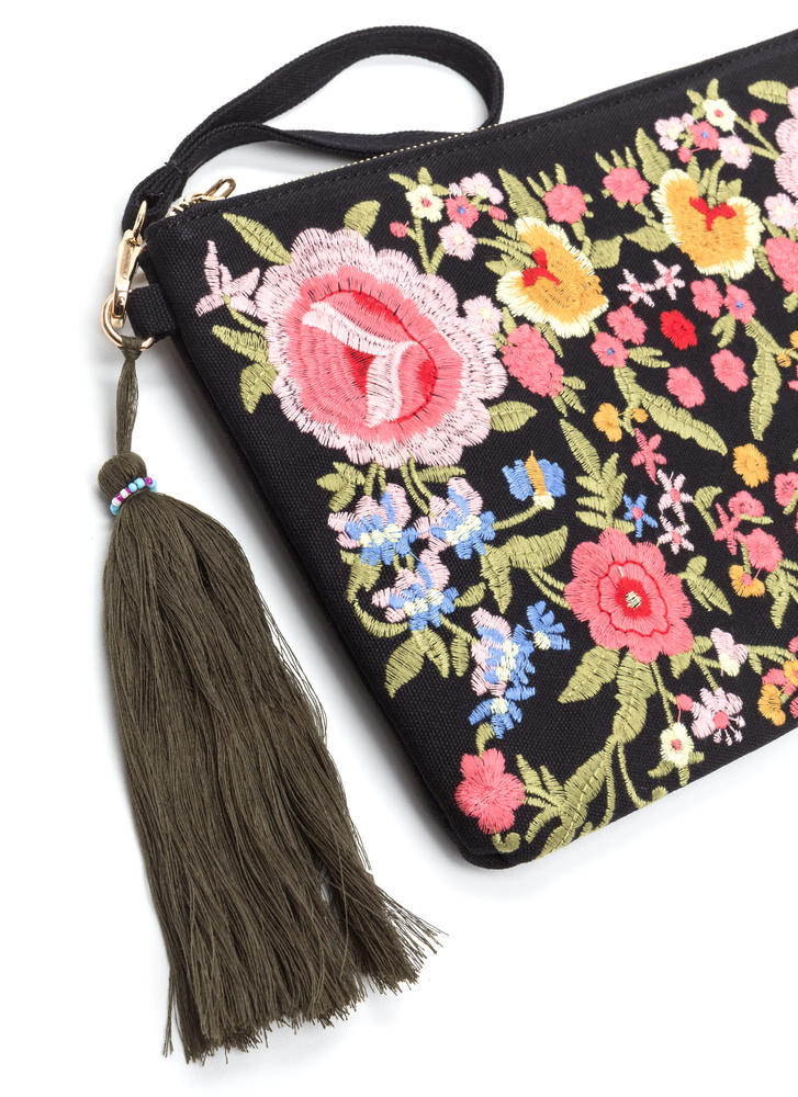 Floral Support Flat Embroidered Clutch BLACK