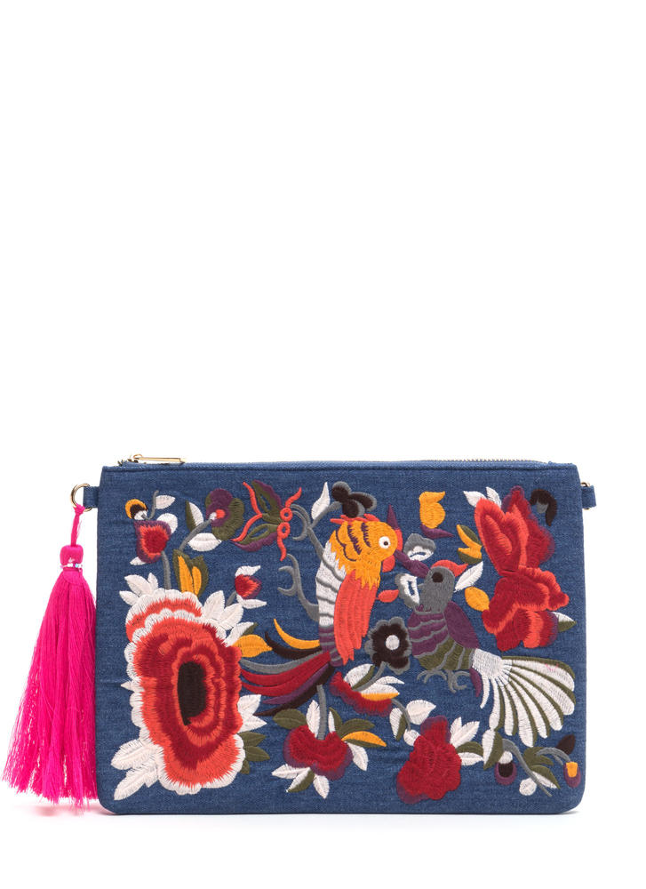 Folk Tale Embroidered Denim Clutch