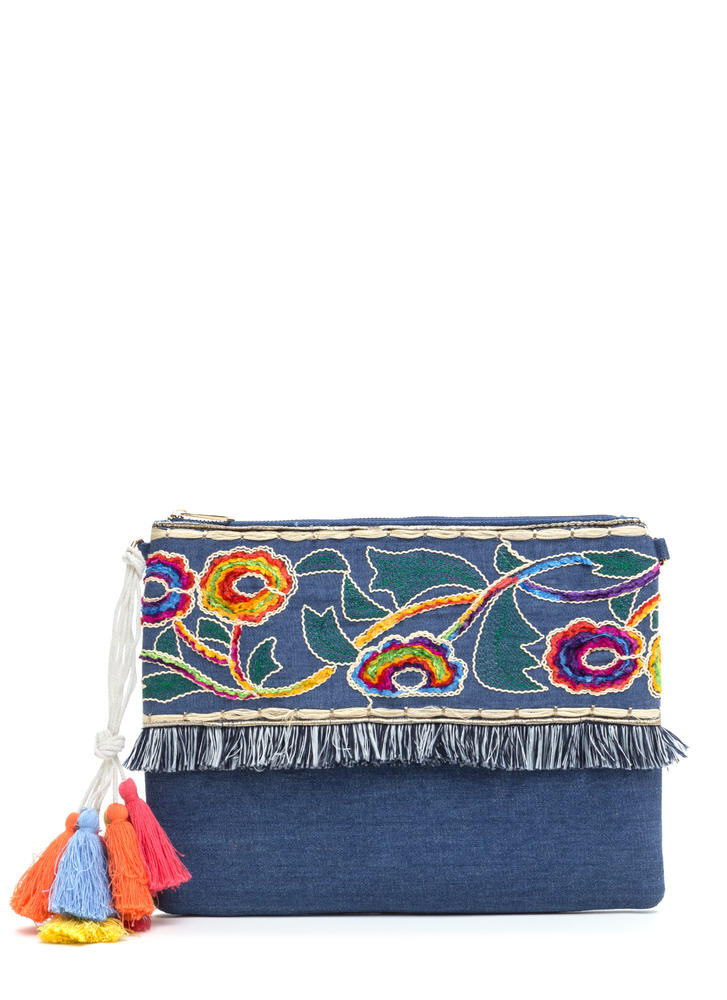 Retro Flair Embroidered Denim Clutch