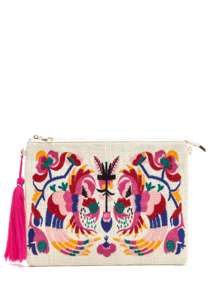 Boho Take Embroidered Tasseled Clutch