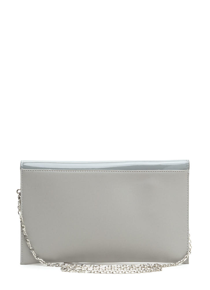 Ring It Up Chained Rectangle Clutch GREY