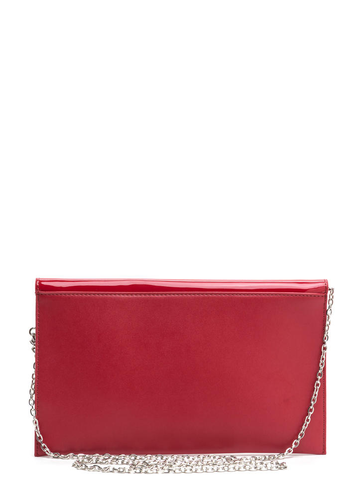 Ring It Up Chained Rectangle Clutch RED