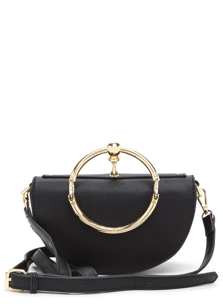 Ring Up-To-Date Faux Leather Bag BLACK