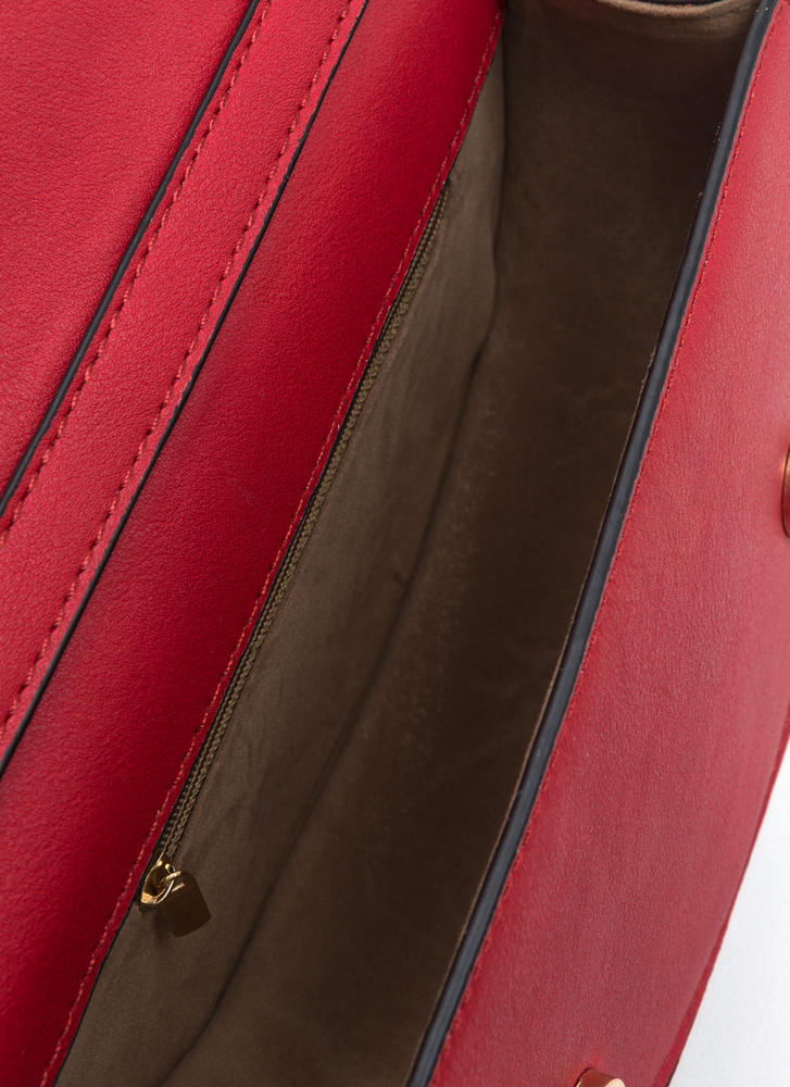 Ring Up-To-Date Faux Leather Bag RED