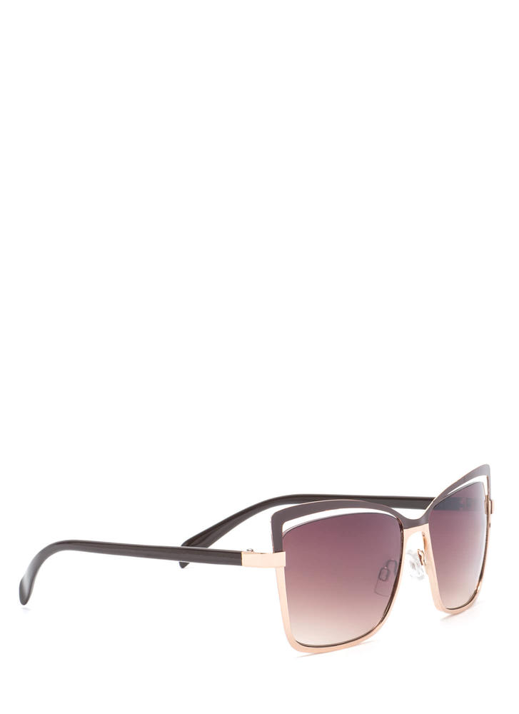 Poolside Beauty Cut-Out Sunglasses BROWNGOLD