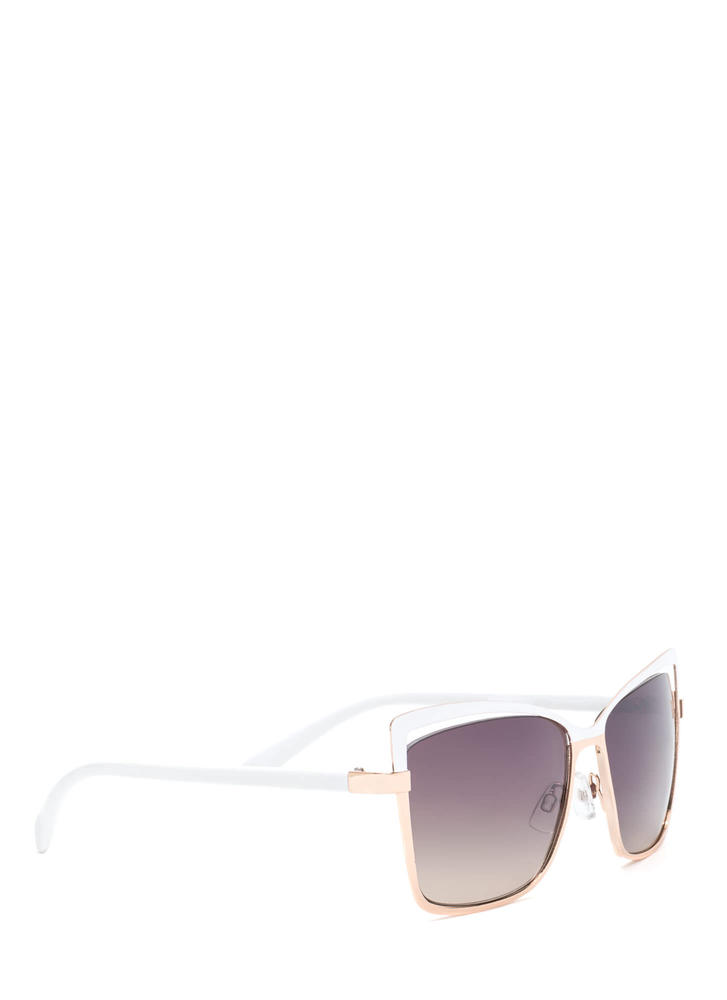 Poolside Beauty Cut-Out Sunglasses WHITEGOLD