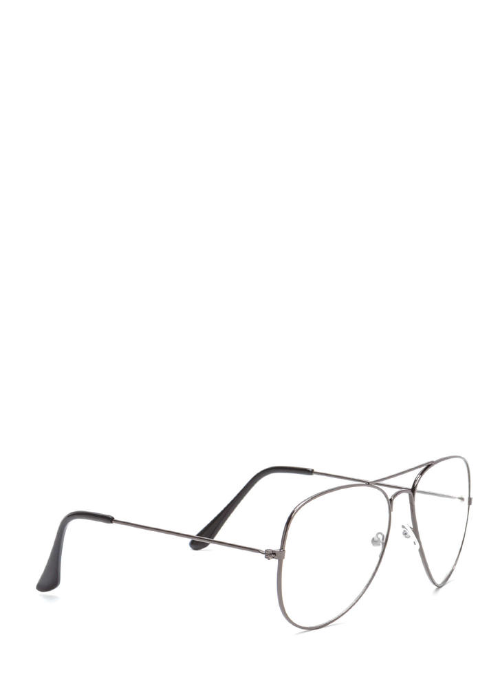 Geek Squad Clear Brow Bar Glasses BLACK