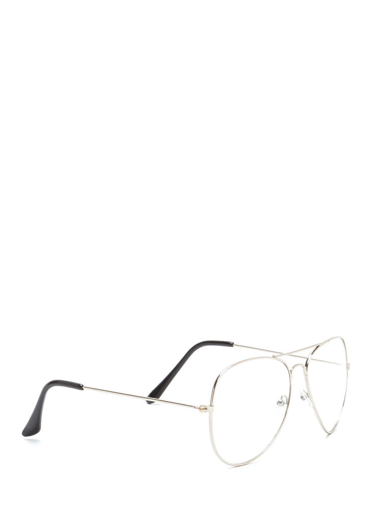 Geek Squad Clear Brow Bar Glasses SILVER