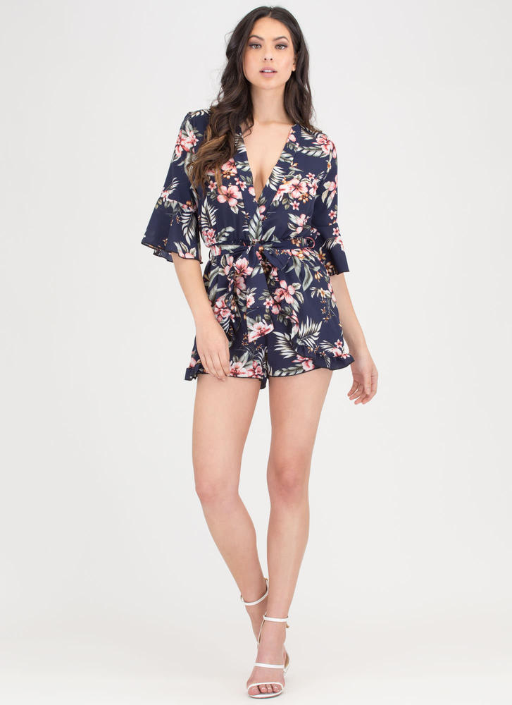 In The Tropics Ruffled Floral Romper NAVY
