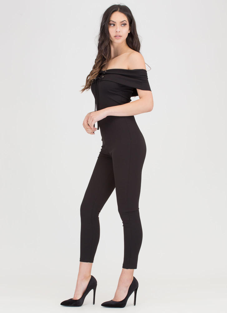 I Fold Lace-Up Off-Shoulder Jumpsuit BLACK