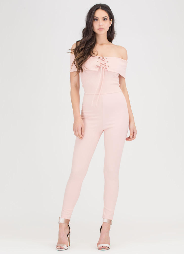 I Fold Lace-Up Off-Shoulder Jumpsuit