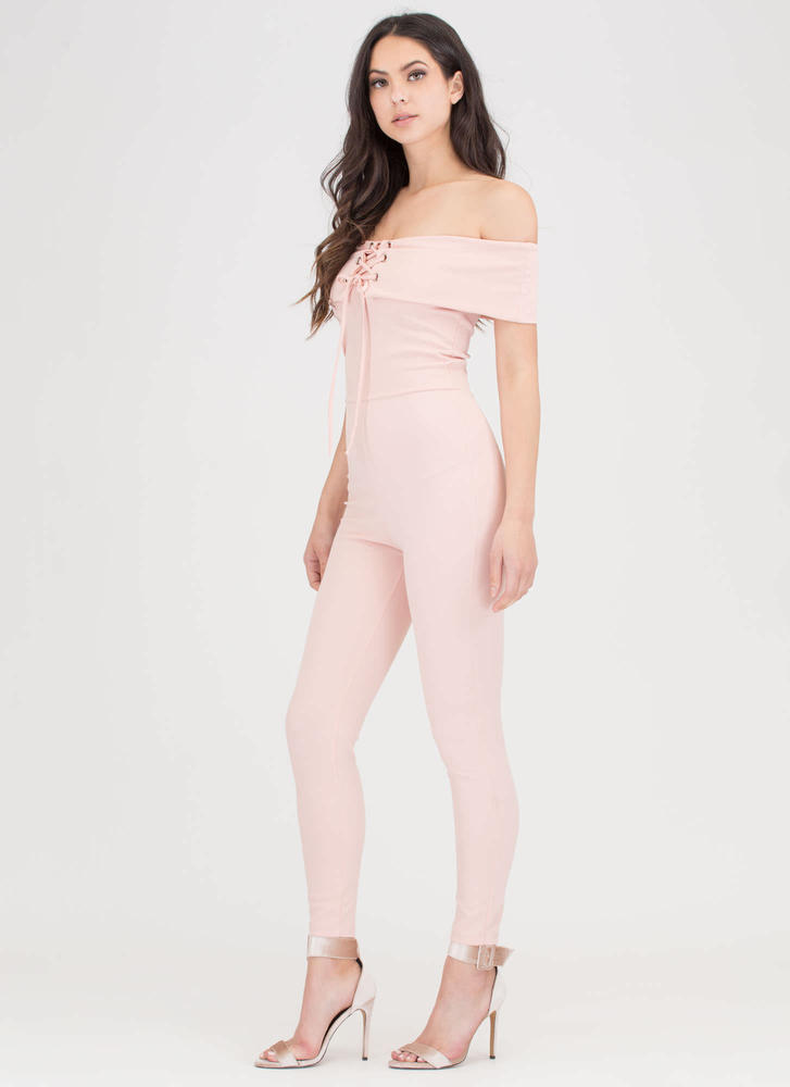 I Fold Lace-Up Off-Shoulder Jumpsuit BLUSH