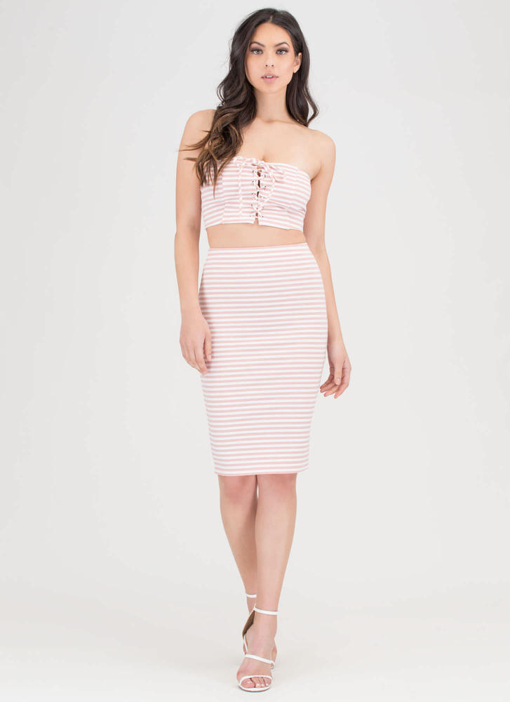 Stripe Now Bandeau 'N Skirt Set