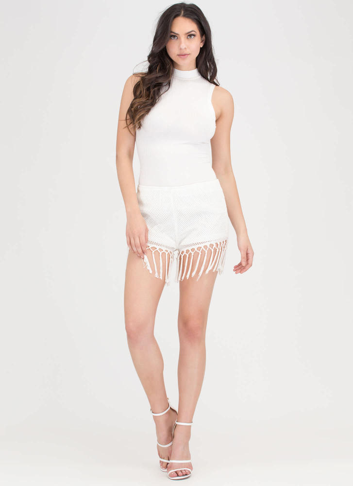 Festival Ready Woven Fringe Shorts WHITE